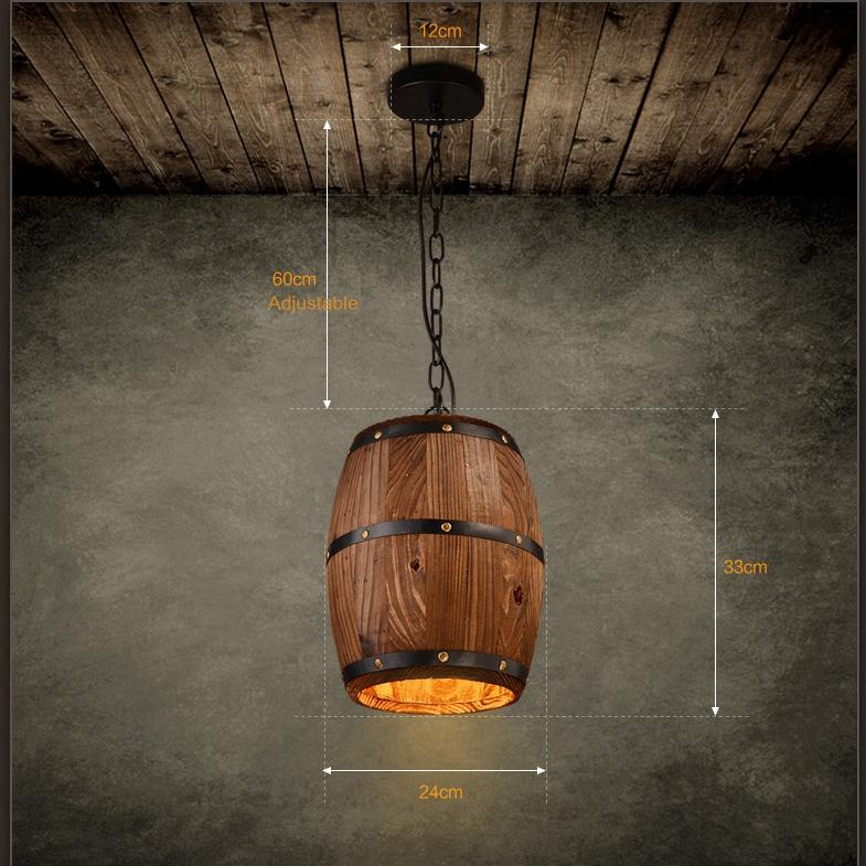 Retre pendant lights lamp shade industrial vintage wood barrel retre pendant lights lamp shade industrial vintage wood barrel retro pendant lamp light for bar shop cafe dining room decor drum pendant lighting plug in mozeypictures Image collections