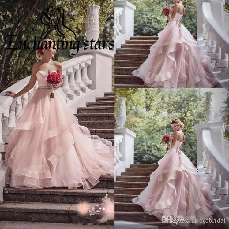 Pink Tulle Wedding Gown: Discount 2017 Ruffles Pink Wedding Dresses High Quality