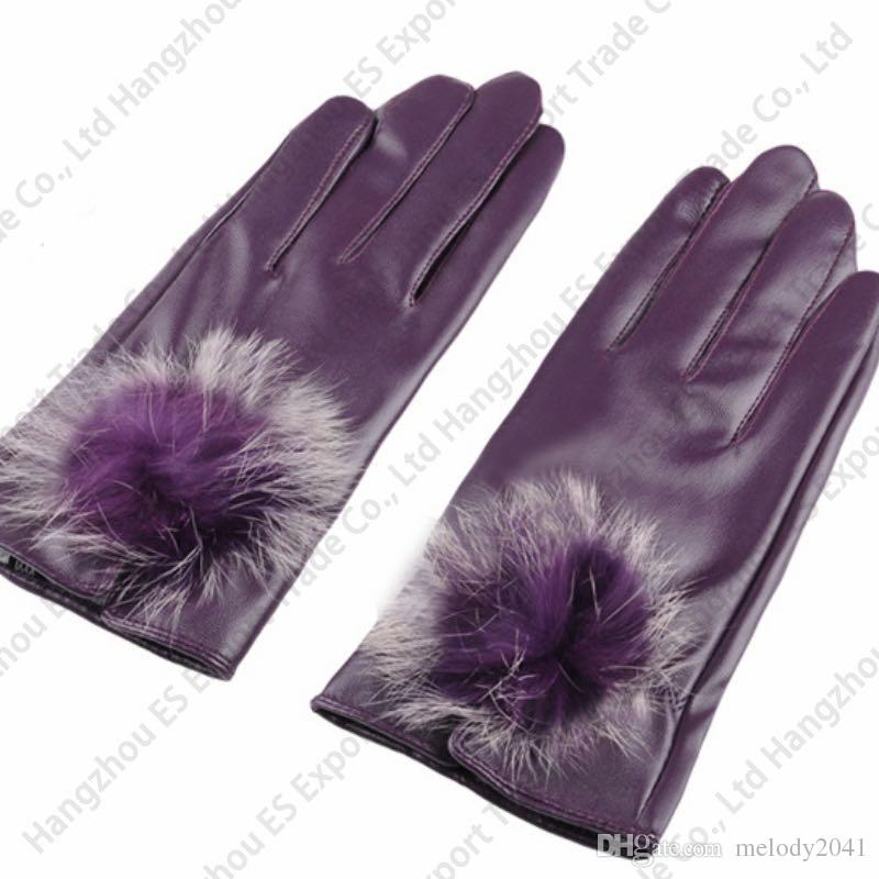 Guantes de cuero de la PU Guantes mujeres Diseño de la bola de piel de conejo de imitación delgados Guantes de la pantalla táctil de la PU del otoño invierno delgado es