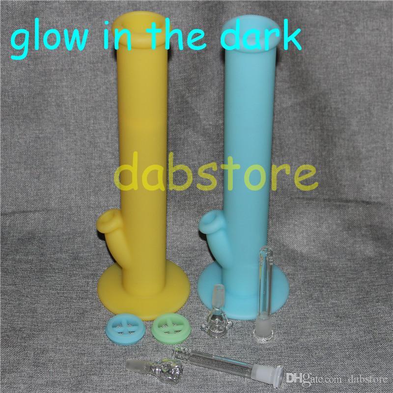 glow in the dark tubo di acqua in silicone tubo di vetro acqua bong in vetro 14.4mm comune senza accessori di vetro nave libera