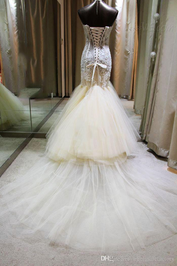 Gorgeous 2017 Mermaid Lace Wedding Dresses Sweetheart Illusion Appliques Beaded Layered Skirt Floor Length Bridal Gowns with Lace-up BA1926