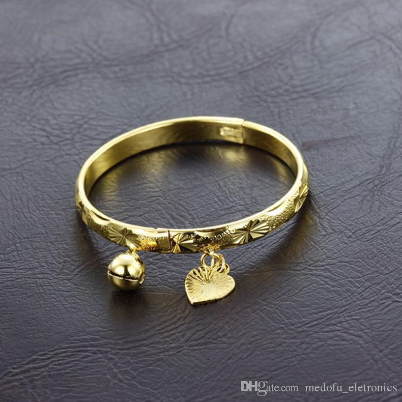 Высокое Качество Новая Мода 18 К Желтое Золото Колокол Сердце Браслет Дети Мальчики Девочки Детские Дети Ювелирные Изделия Браслет Подарок для Детей