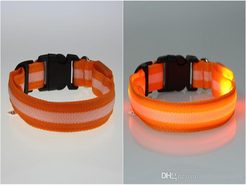 S M L Size Glow LED Dog Pet Cat Collar Flashing Light Up Nylon Band Belt Puppy Night Safety Adjustable Luminous Collars Supplies