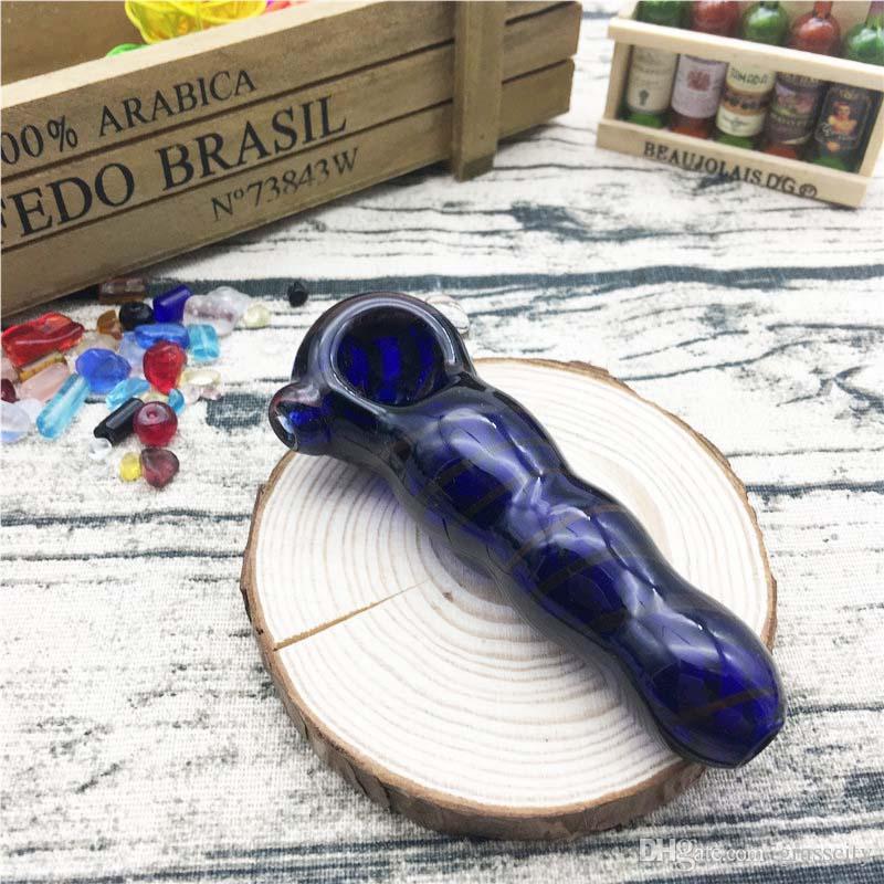 Tubi di vetro a mano di colore unico di linea di colore blu di stile di prezzi economici gorgogliatore tabacco che fuma con 3,7 pollici ES-HP-056