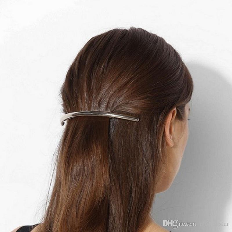 2017 Nuevas Mujeres de La Manera Clips de Pelo de Metal Barrettes Niñas Plated ARC Tubo Hairgrip Hairband Horquillas Accesorios Para el Cabello
