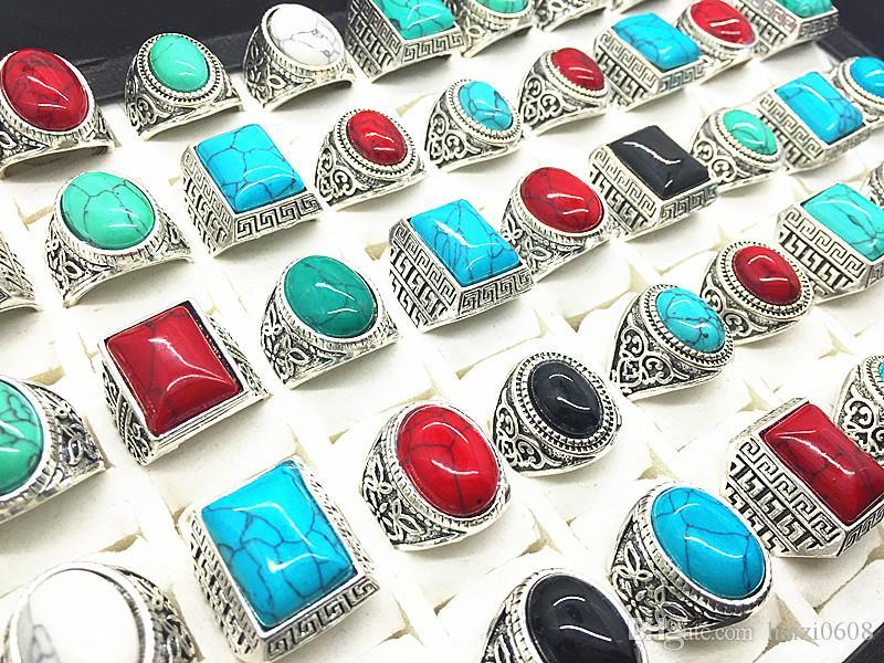 Lotto di pietre preziose anello turchese argento antico anello di pietra d'epoca i lotti all'ingrosso di gioielli donna uomo