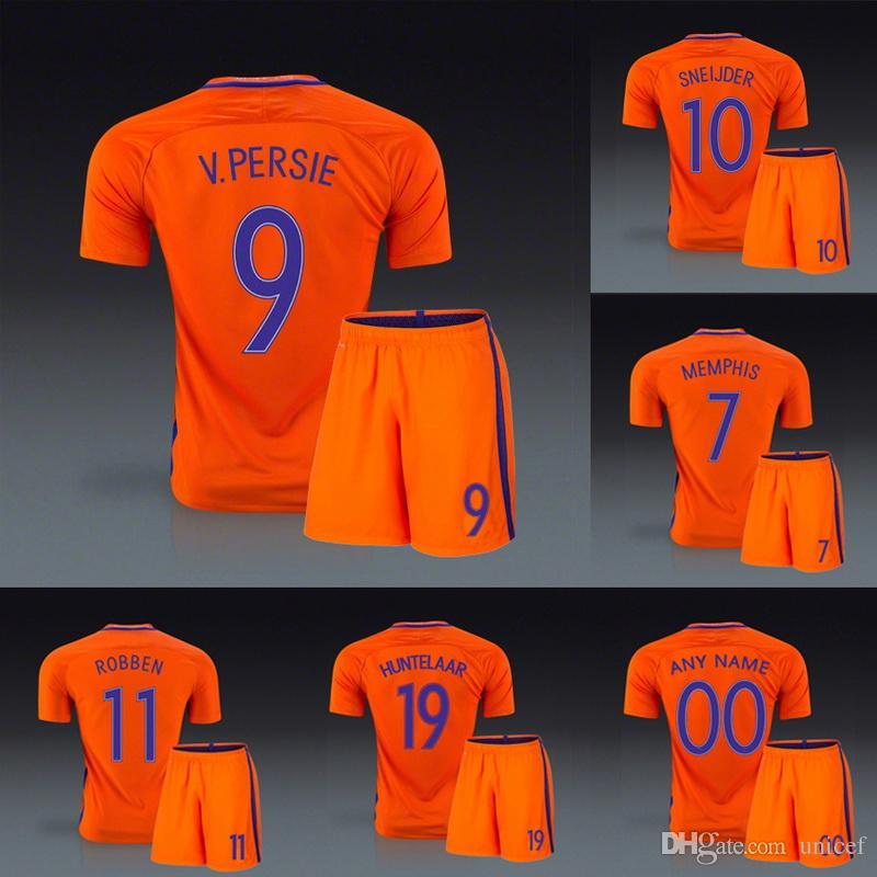 94d4e478394e5 Compre Holland Holanda 2016 2017 Casa Uniforme De Futebol Laranja Camisas  De Futebol Kits De Robin Van Persie Arjen Robben Wesley Sneijder Huntelaar  Depay ...