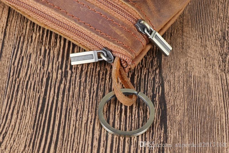organizzatore della chiusura lampo multifunzionale dell'annata di alta qualtiy genuino portachiavi dell'automobile di modo uomini spaccati borsa chiave del sacchetto della borsa della moneta dei soldi del raccoglitore della borsa
