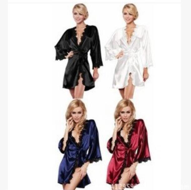 Commerce extérieur Europe et États-Unis sexy peignoirs de bain en dentelle côté perspective ludique pyjama sous-vêtements sexy multi-sets