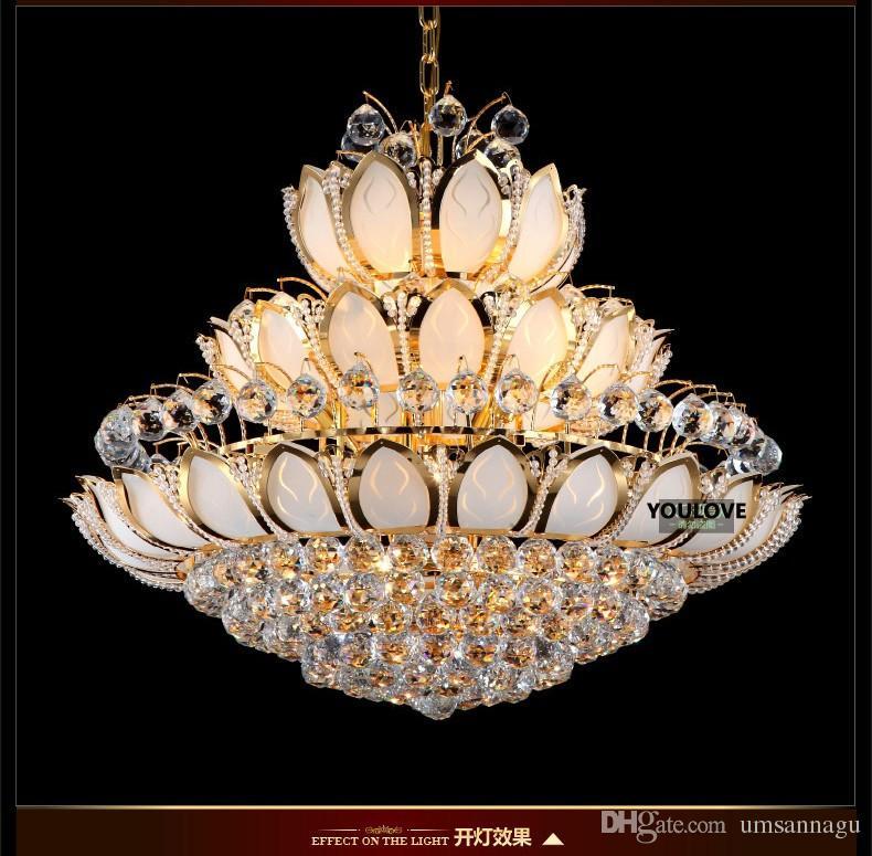 الذهب كريستال الثريات الحديثة أضواء تركيبات الأوروبية الأمريكية لوتس زهرة الثريا الذهبي كريستال droplight المنزل داخلي فندق الإضاءة