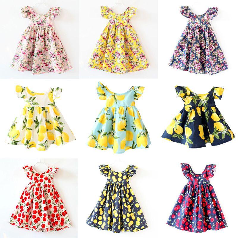 Best Cherry Lemon Cotton Backless Girls Floral Beach Dress Cute Baby ...