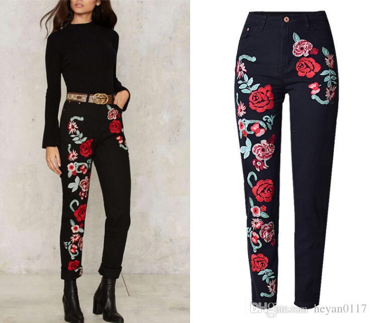 98eb6296c01 Elegant Flower Embroidery Jeans Female Black Casual Pants Capris Spring Pockets  Straight Jeans Women Bottom Plus Size XS-XXL Flower Embroidery Jeans Women  ...