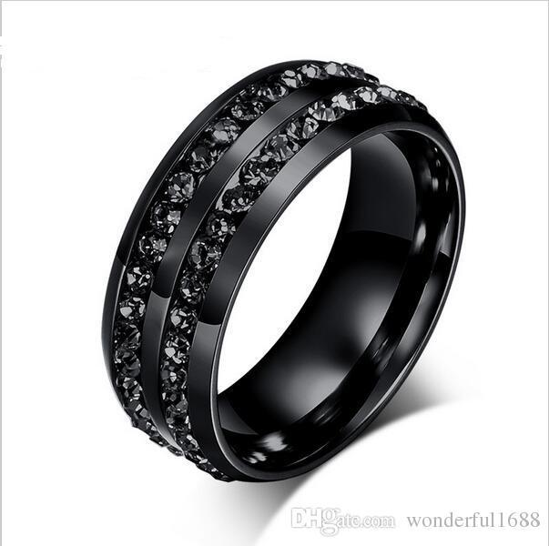 Grosshandel Korean Ring Schwarz Diamant Besetzt Titan Stahl Ring
