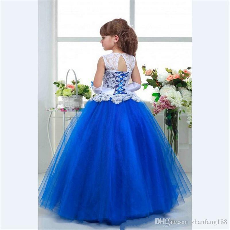 2019 Royal Blue Flower Girl Dress ball gown Tulle sashes Beaded Kid Evening Gown Pageant Dresses for Little Girls vestido daminha
