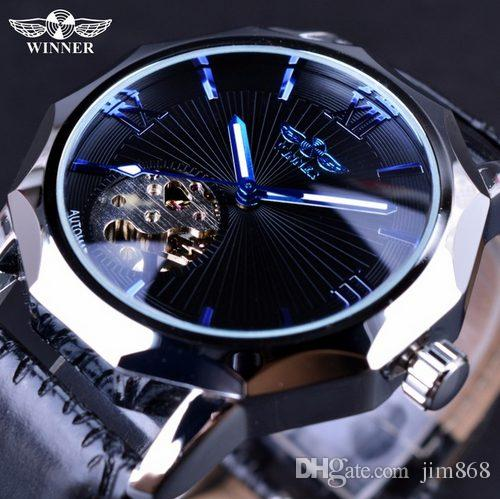e2b4e8ef9 Winner Blue Hands Design Transparent Skeleton Small Fashion Dial Display  Mens Watches Top Brand Luxury Automatic Fashion Watches Watches For Sale  Wrist ...
