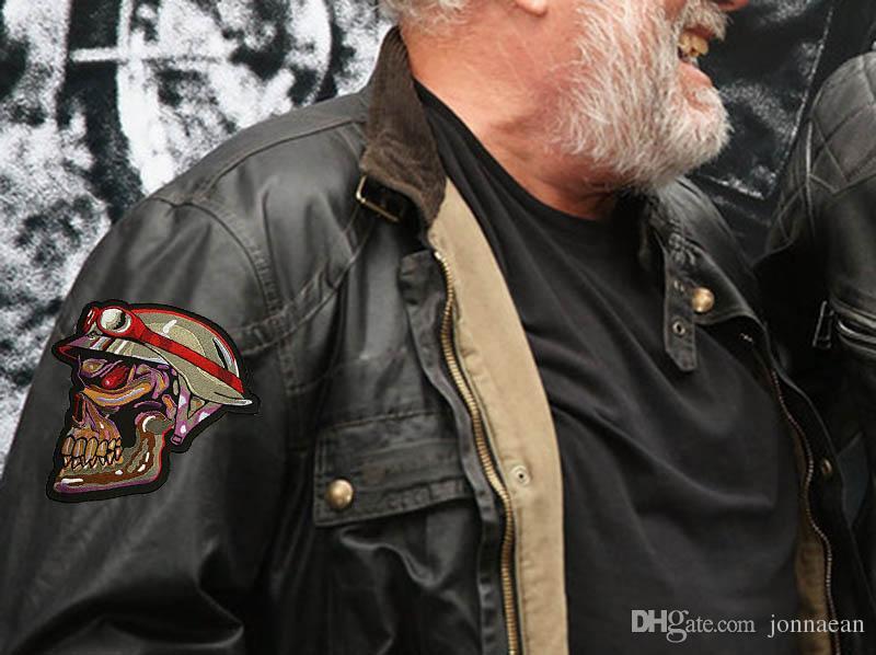Wirklich seltenes Unikat! Super große beängstigende Schädel Gesicht gestickte Applikationen Abzeichen Patches Military Army Jacke Patch annähen Eisen auf