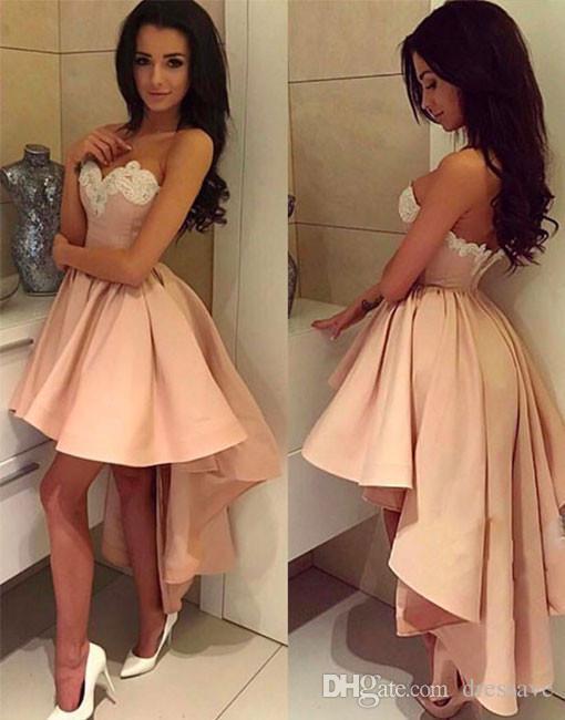 cd209c384e Compre 2018 Vestido De Fiesta De Baile De Graduación Alto Árabe Rosa Claro  Lindo Con Vestido De Fiesta Sin Espalda Blanca Cariño A  99.64 Del Dressave  ...