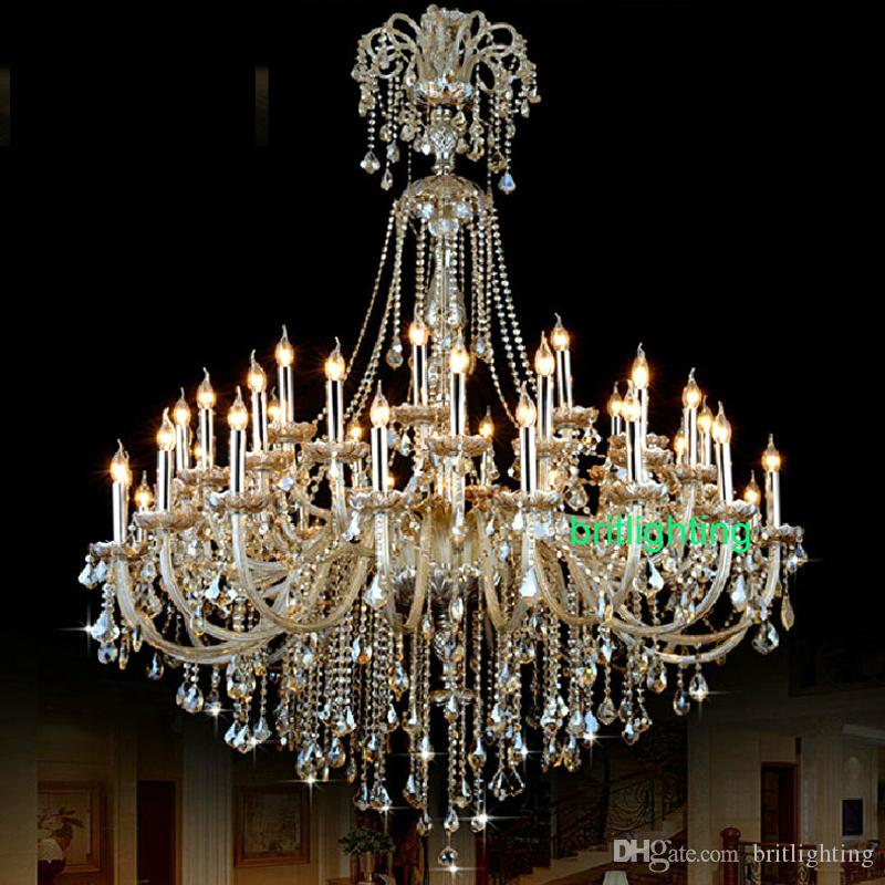 Big hall lamp chandeliers luxury champagne crystal chandelier large modern crystal chandelier villa living room staircase crystal chandelier big hall luxury