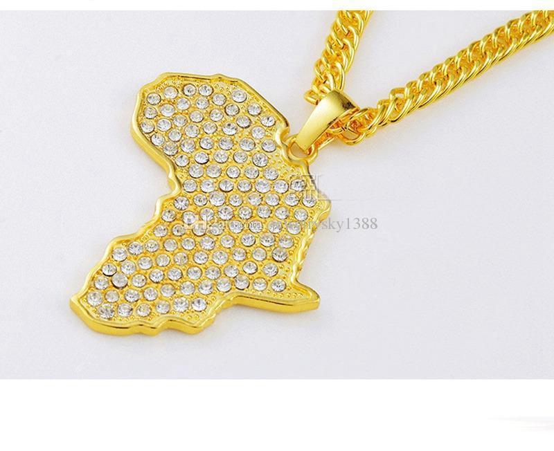Afrika Harita Kolye Rhinestone Kristal Altın / Gümüş Renk Hip Hop Kolye Kolye Geometrik Moda Kolye Noel Hediyesi
