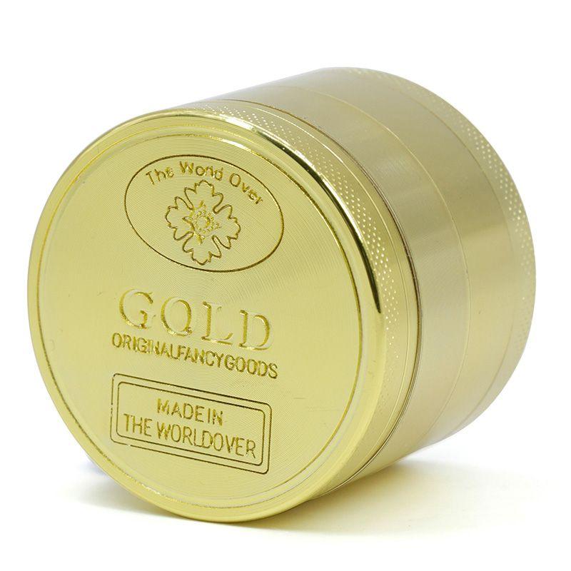 Liga de zinco Herb Grinder 4 Peças 50mm de Diâmetro de Ouro Novo Estilo de Fumar Tabaco Moedor de todo o mundo sobre o worldover