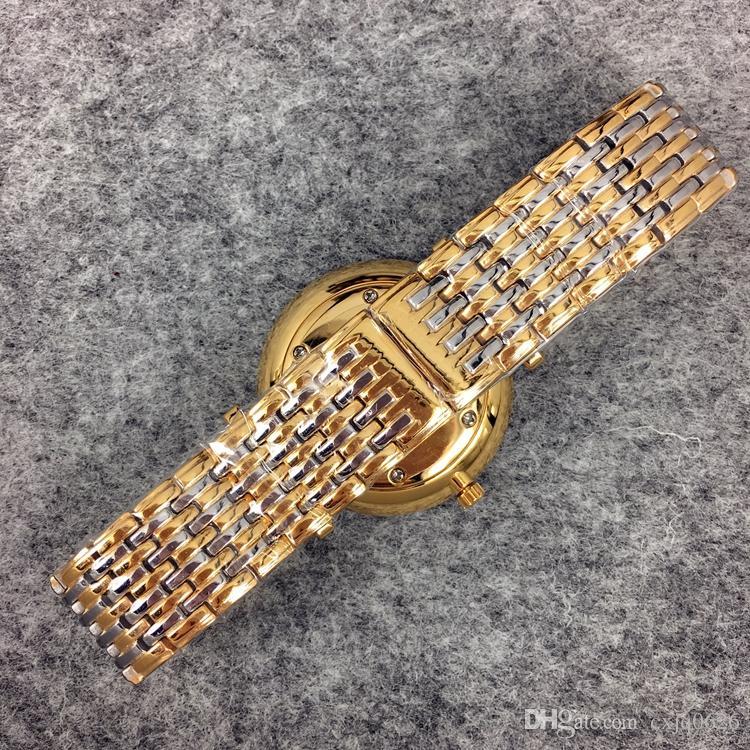 Yüksek Qulity Kadınlar / Adam Lüks İzle Altın / Gümüş Renk Paslanmaz Çelik Kuvars Safir Cam Japonya Hareketi Lover Kol Saati Lady Elbise İzle
