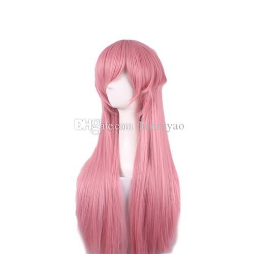 Gasai Yuno Mirai Nikki Peluca de pelo largo y recto Cosplay recto Cuello lateral Resistente al calor Peluca sintética Rosa de dibujos animados