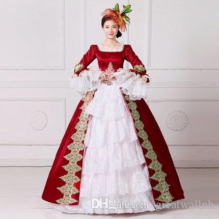 Dorado Vestido Azul De Carnaval Bola Medieval Victoria Antonieta Belle Marino Bordado Princesa Renacimiento Venecia Reina Rojo ONm0vw8n