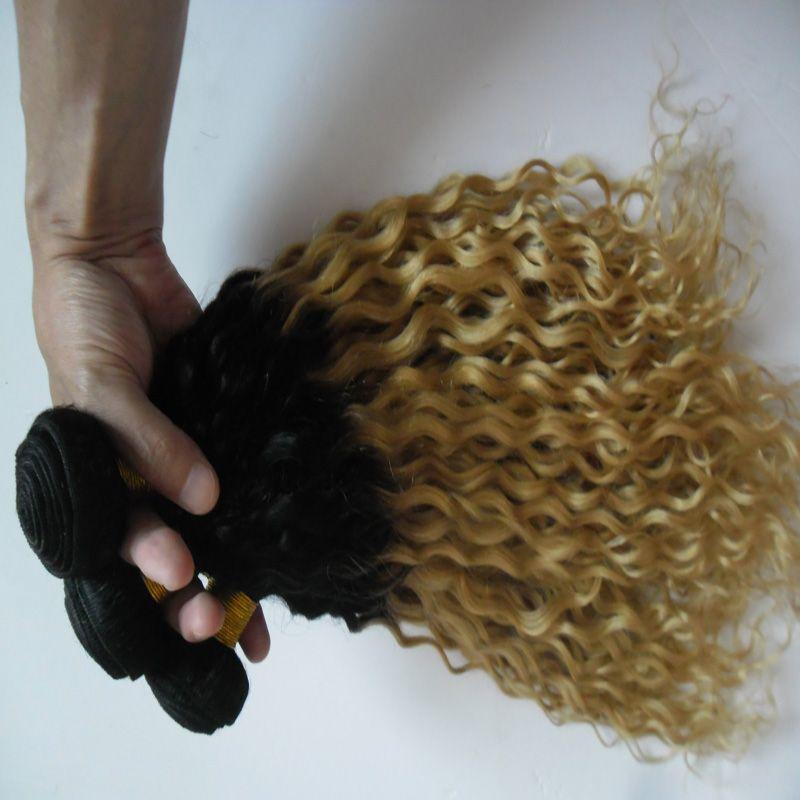 T1b / 613 ombre человеческих волос расширения блондинка бразильский волос переплетения пучки 300g кудрявый девственные волосы 3шт