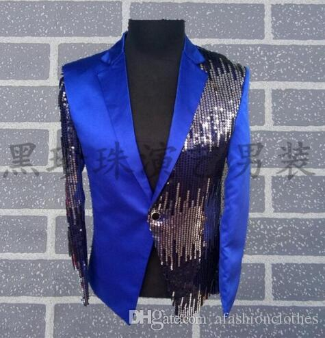 917067f6 Blue Men Suits Designs Masculino Homme Terno Stage Costumes for ...
