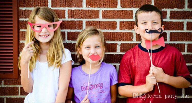 Blue Pink Baby Boy Girl Birthday Photo Props Beard Tie Bow Tie DIY Masks On A Stick Graduation Party Favor Masks