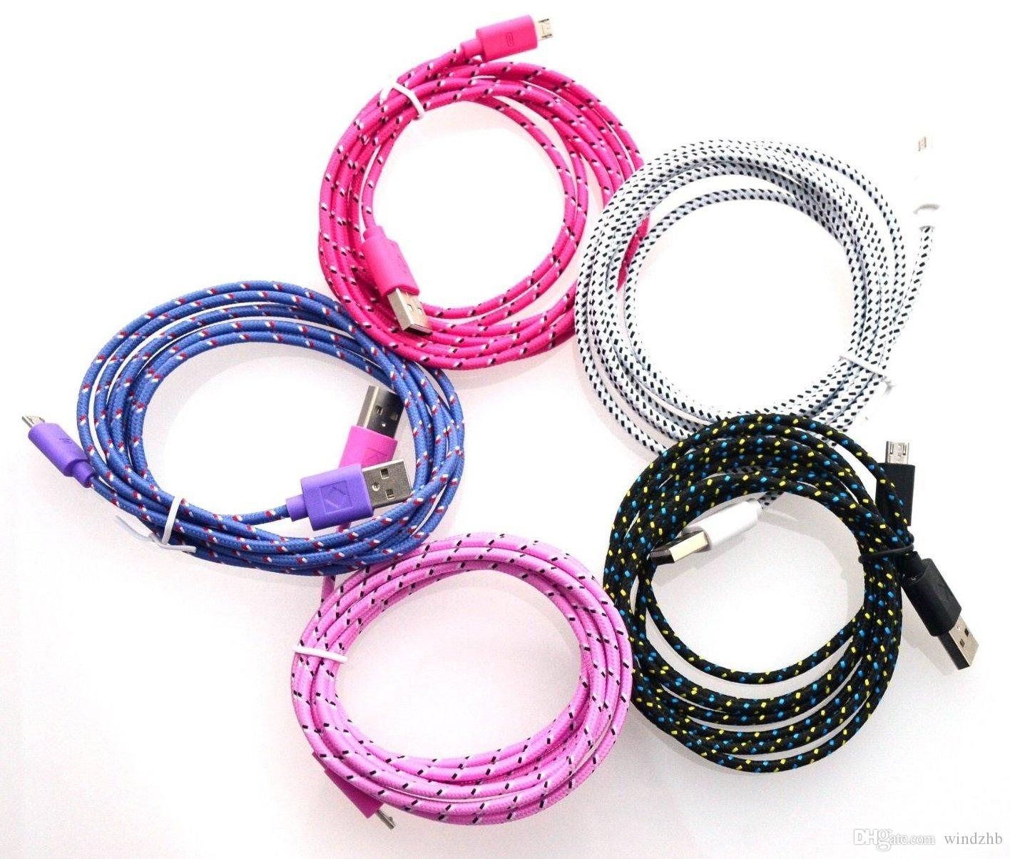 10Ft 3M Extra Long Extension Micro USB Fiber Braided Charger Cable Data Sync Fabric Knit Nylon Chargring Cord Wire Lead For Samsung S3 S4 S5