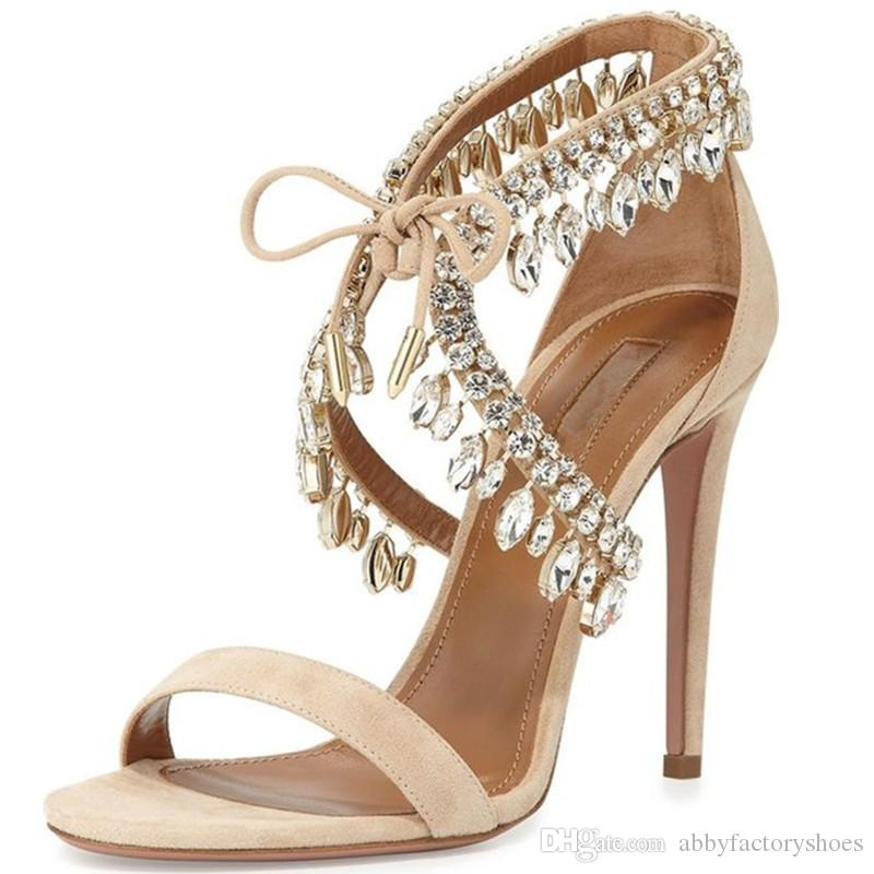 Aquazzura Bling Women Gladiator Sandals Suede Strappy High Heels Shoes Woman Lace Up Pumps Rhinestone Lady Crystal Wedding Shoes Zapatos 42