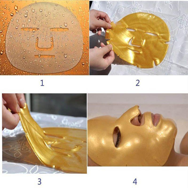 2015 hotsale Gold Bio-Collagen Facial Mask Crystal Gold Powder Collagen Facial Mask Moisturizing Anti-aging Face Mask