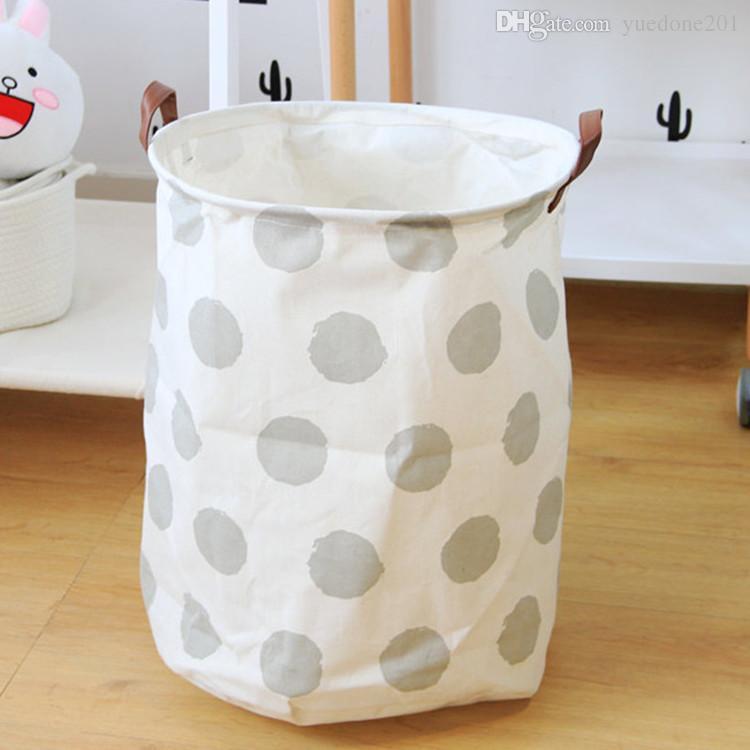 40 * 50 cm Geometrische Gedruckte Leinwand Ablagekörbe mit Griff Schmutzige Kleidung Kinder Spielzeug Kleinigkeiten Barrel Faltbare Aufbewahrungsbehälter Organizer