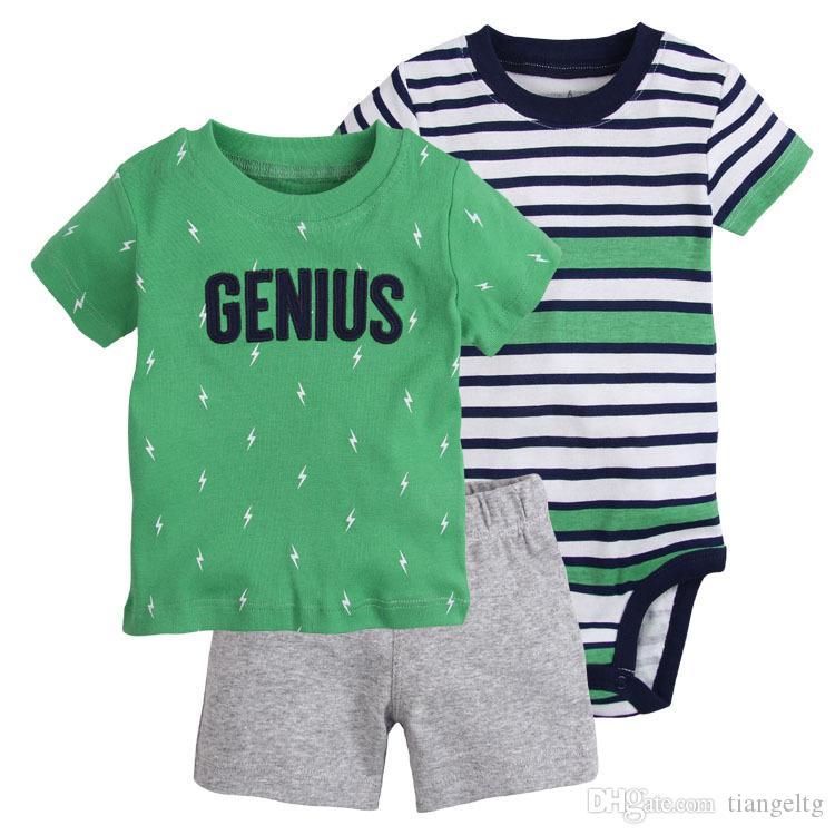 3 Pièces Ensembles De Vêtements T-shirt Barboteuses Tops Pantalons Bébés Garçons Nouveau-Né Infant Toddler Boutique Enfants Enfants Vêtements Tenue À Manches Courtes