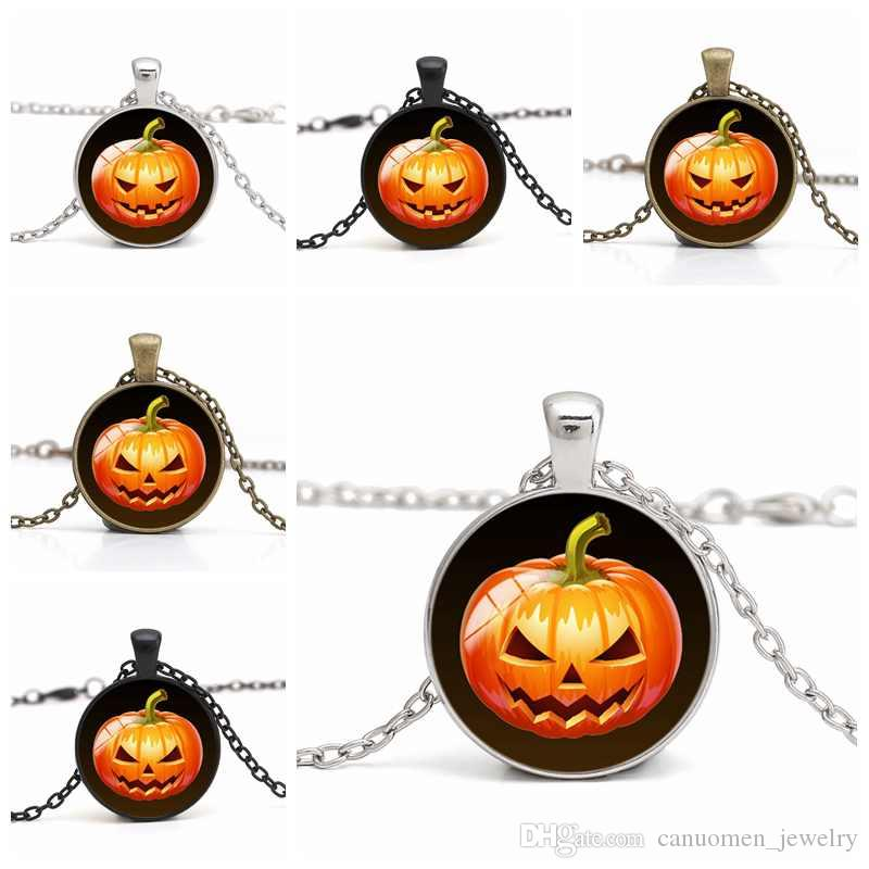 Pumpkin Pendant Necklace Glass Cabochon Angry Jack-o-Lantern Halloween DIY Handmade Jewelry Women Charm Gifts Wholesale drop shipping