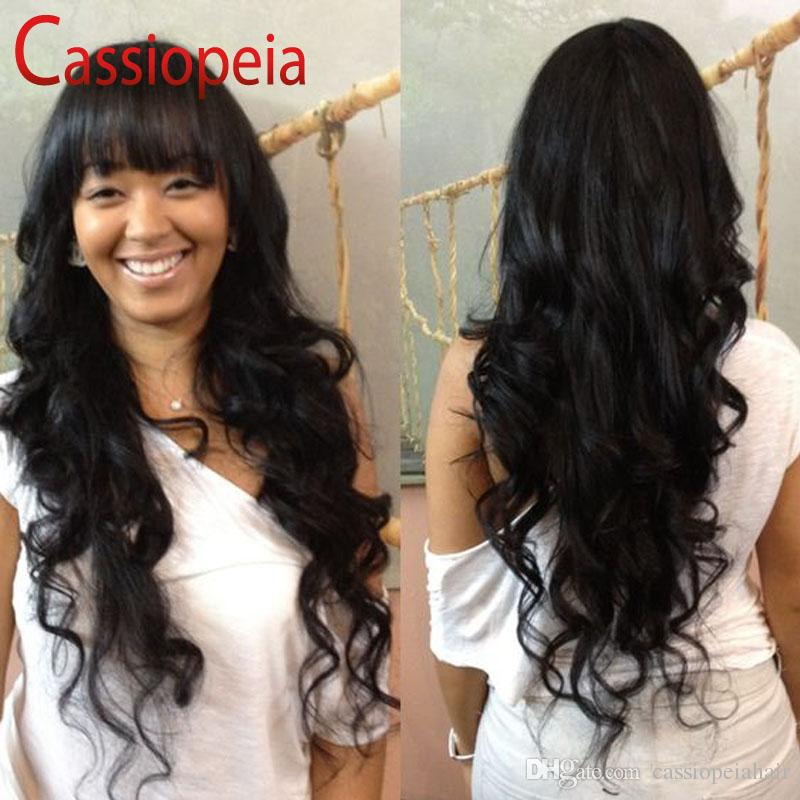 Long Brazilian Wavy Full Lace Wigs with Full Bangs Glueless Virgin Human Hair Wet and Wavy Lace Front Wigs For Black Women Wavy