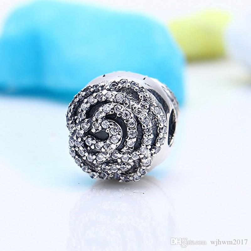 Pave Rose Clip Charms Bead Authentic 925 Sterling-Silver-Jewelry Flower Stopper Lock Beads DIY Brand Bracelets Jewelry Making Accessories