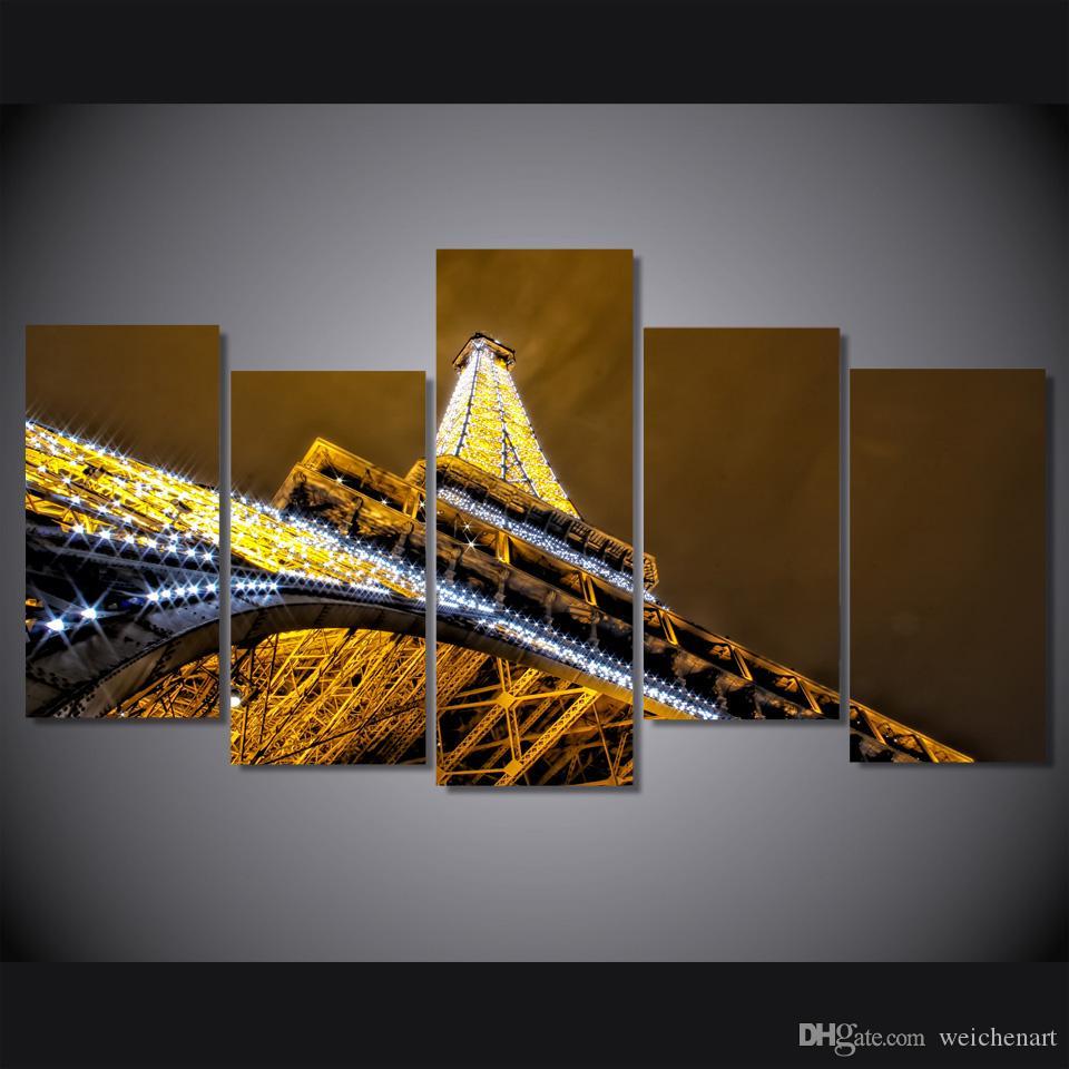 5 Panel-HD Printed Paris Turm Nachtlandschaftsmalerei auf Leinwand Dekodruck Poster Bild Leinwand-Wand-Kunst-Malerei