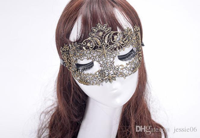Nuove donne di moda sexy maschera di pizzo vintage matrimonio di Natale carnevale costume in maschera costume da partito maschere con palline club showgirl eyemask