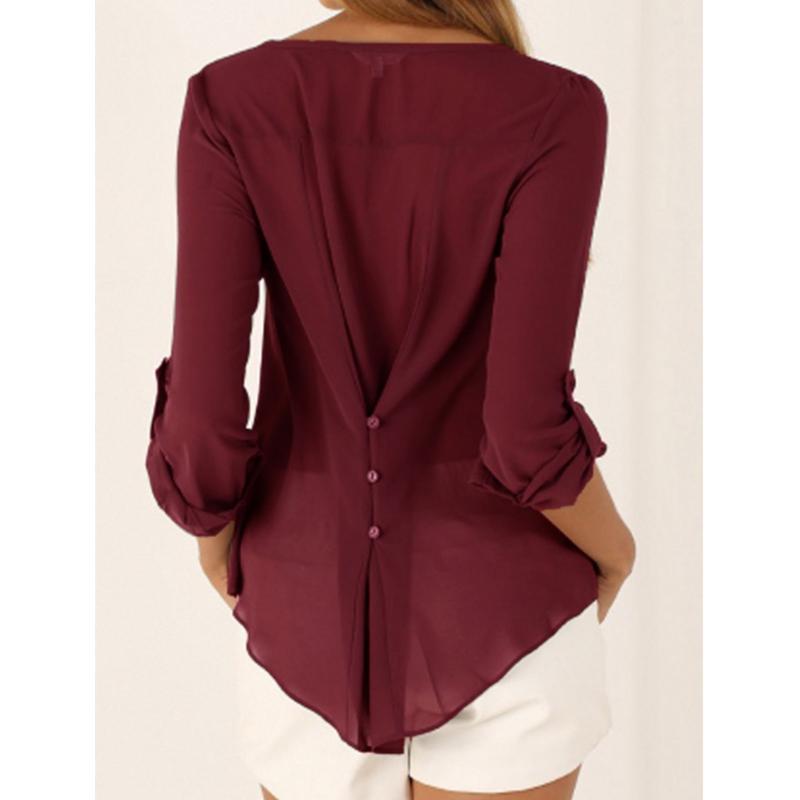 US wholesale Long Sleeve Casual women's Shirts / fashion Chiffon shirt blouse sexy lady Loose V-neck tops size S-5XL