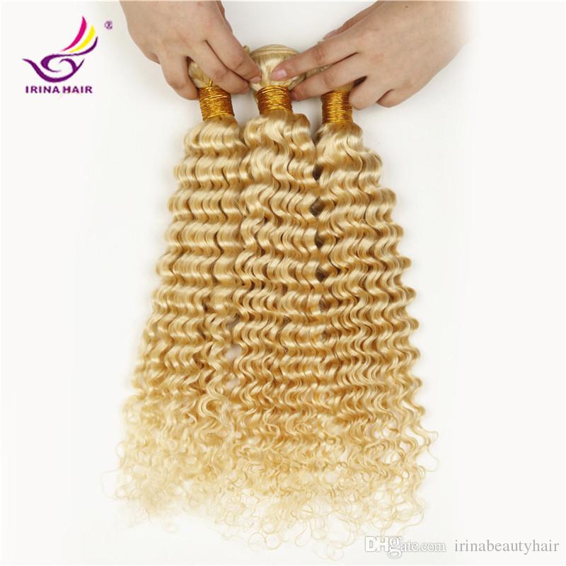 الجملة 10-28 بوصة ابيض شقراء اللون # 613 الروسية البرازيلي بيرو الهندية الماليزية عذراء الشعر العميق مجعد الشعر البشري 4 قطع
