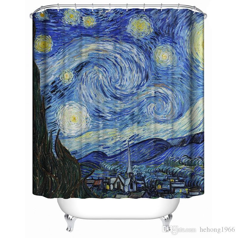Звездное небо печати полиэфирные волокна ванна шторы многофункциональный водонепроницаемый плесени утолщение увеличенное издание занавес горячей продажи 30 Гц J R