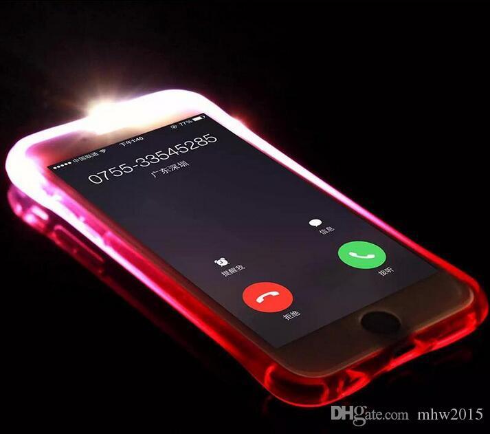 2016 fashion Led selfie light Led calling flashing led illuminated cell phone case cover for iphone 6 or 6s