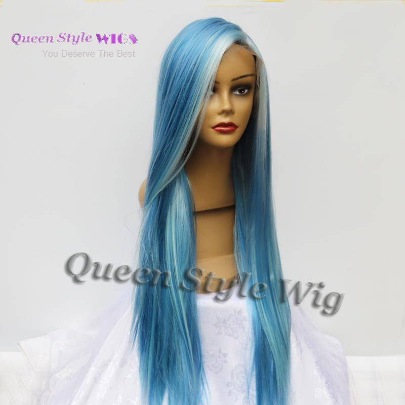 Newest Pastel Blue Color Hair Lace Front Wig Synthetic Light Blue Highlight Super Gorgeous Lace Front Wig for Black/ White Woman