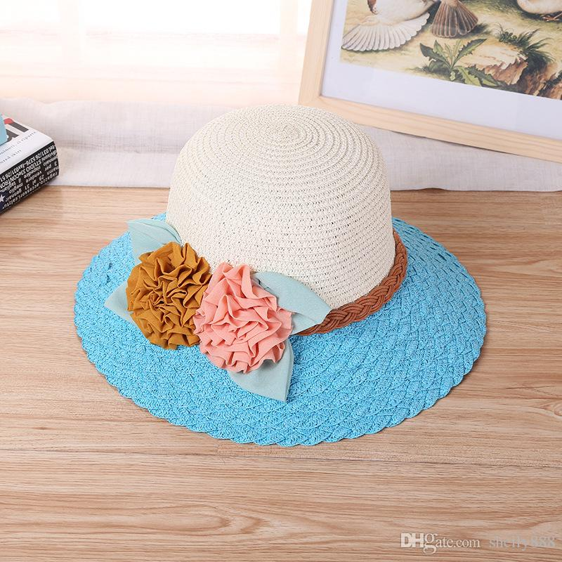 High quality new hat, female spring autumn sun, sun hat, big beach, two big flower straw hat manufacturers
