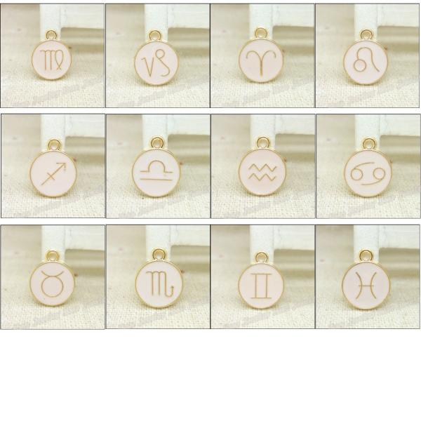 Wholesale 36pcs/lot Enamel Alloy Gold-color jewelry Mixed Zodiac pendants charms for bracelet necklace DIY jewelry making