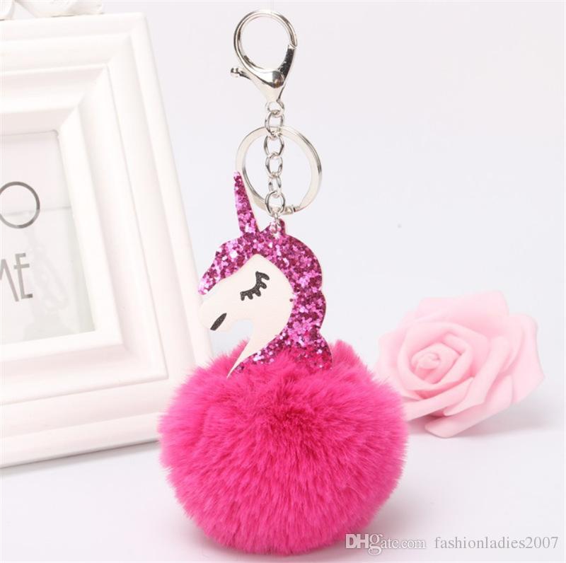 Unicórnio pompom Keychain Bonito bola de pêlo de Coelho Fofa licorne chaveiro Cavalo clef porte pompom de fourrure pompom Saco Chaveiro Carro