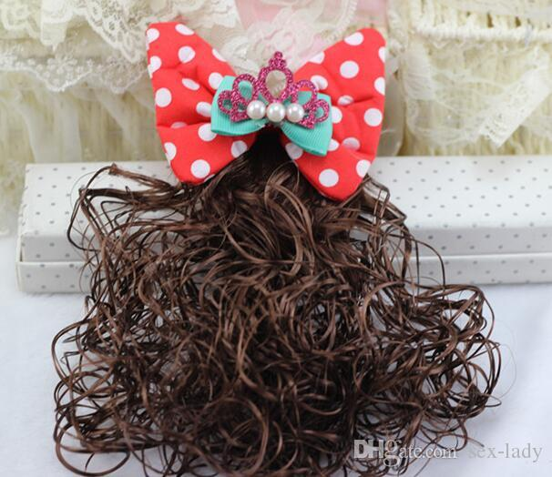 All kinds of Wigs Hair Bows for kids Children's wig Hair accessory Hairpins headwear with Clips for wedding party