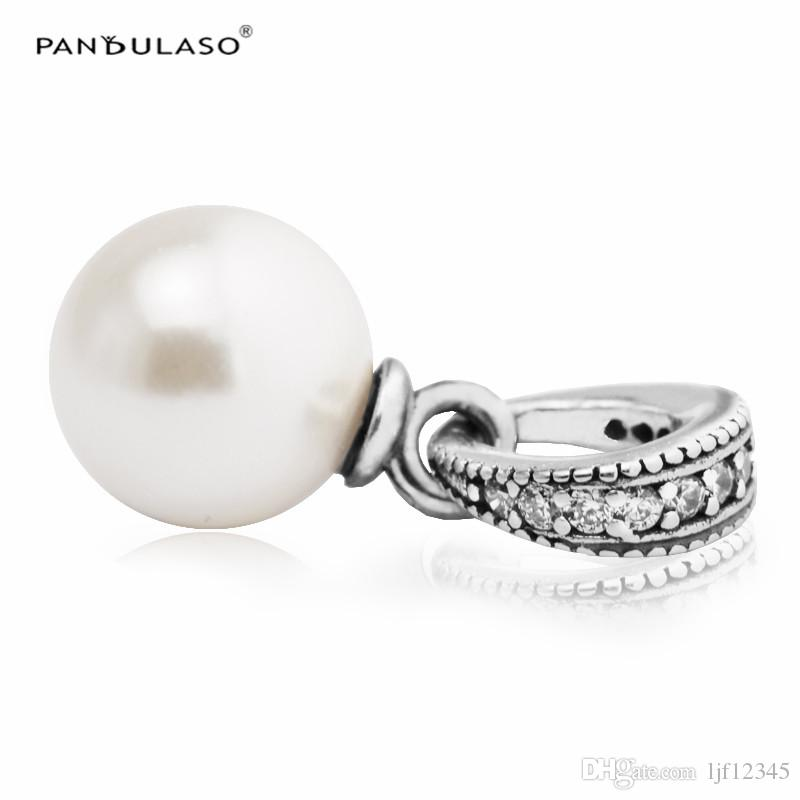 Elegant Beauty White Pearl Pendant Pandulaso Original 925 silver beads for woman Fit pandora bracelet Woman Fashion Jewelry making